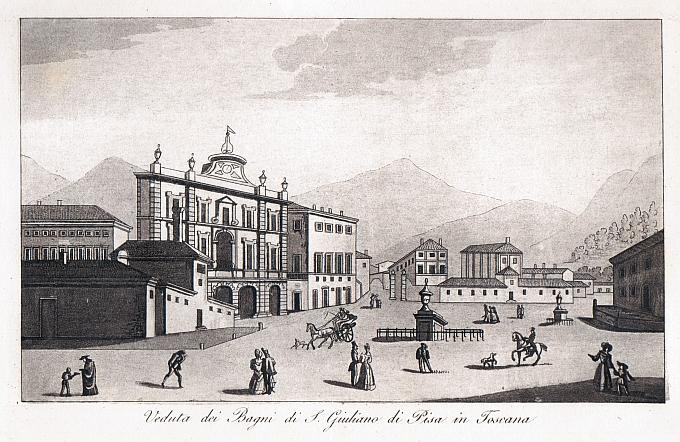 Veduta dei Bagni di S. Giuliano di Pisa in Toscana - Idea Rare Maps