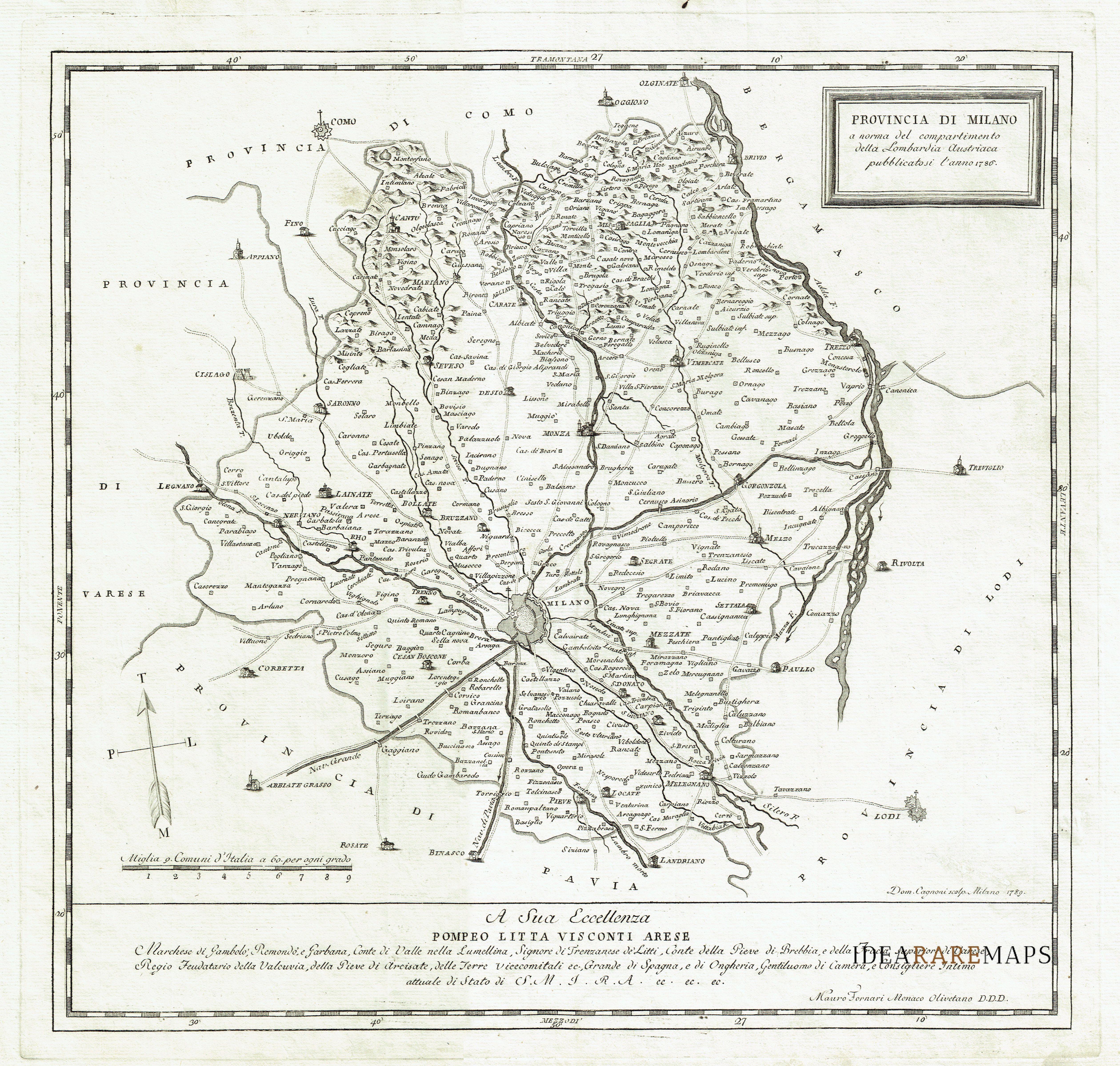 provincia di milano carta geografica antica