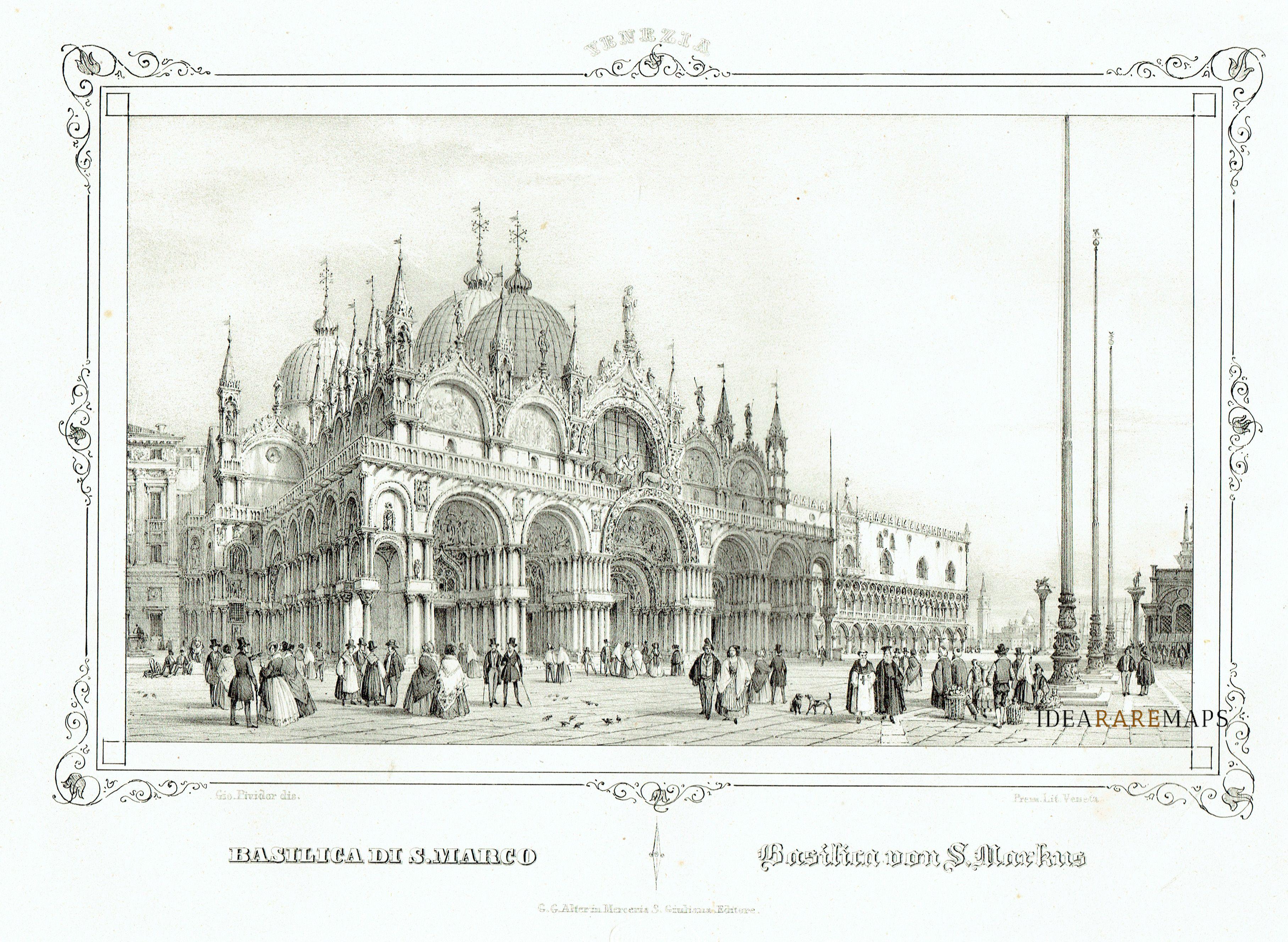 Basilica San Marco Venice Moro Litografia