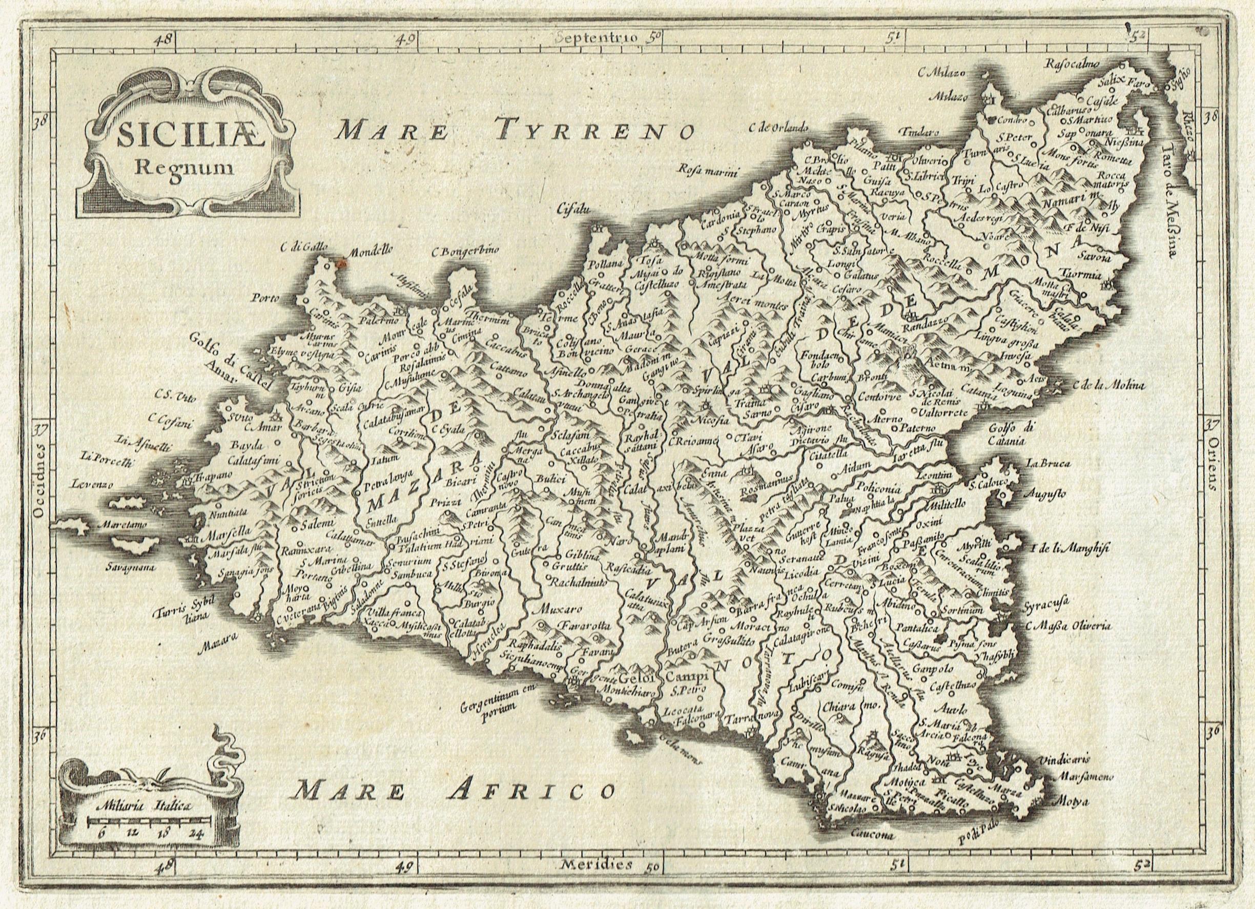 Cartina Sicilia Antica.Antica Carta Geografica Sicilia Siciliae Regnum Idea Rare Maps