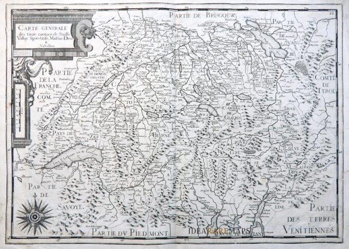 La Cartina Geografica Della Svizzera.Rara Carta Geografica Antica Della Svizzera Con La Valtellina