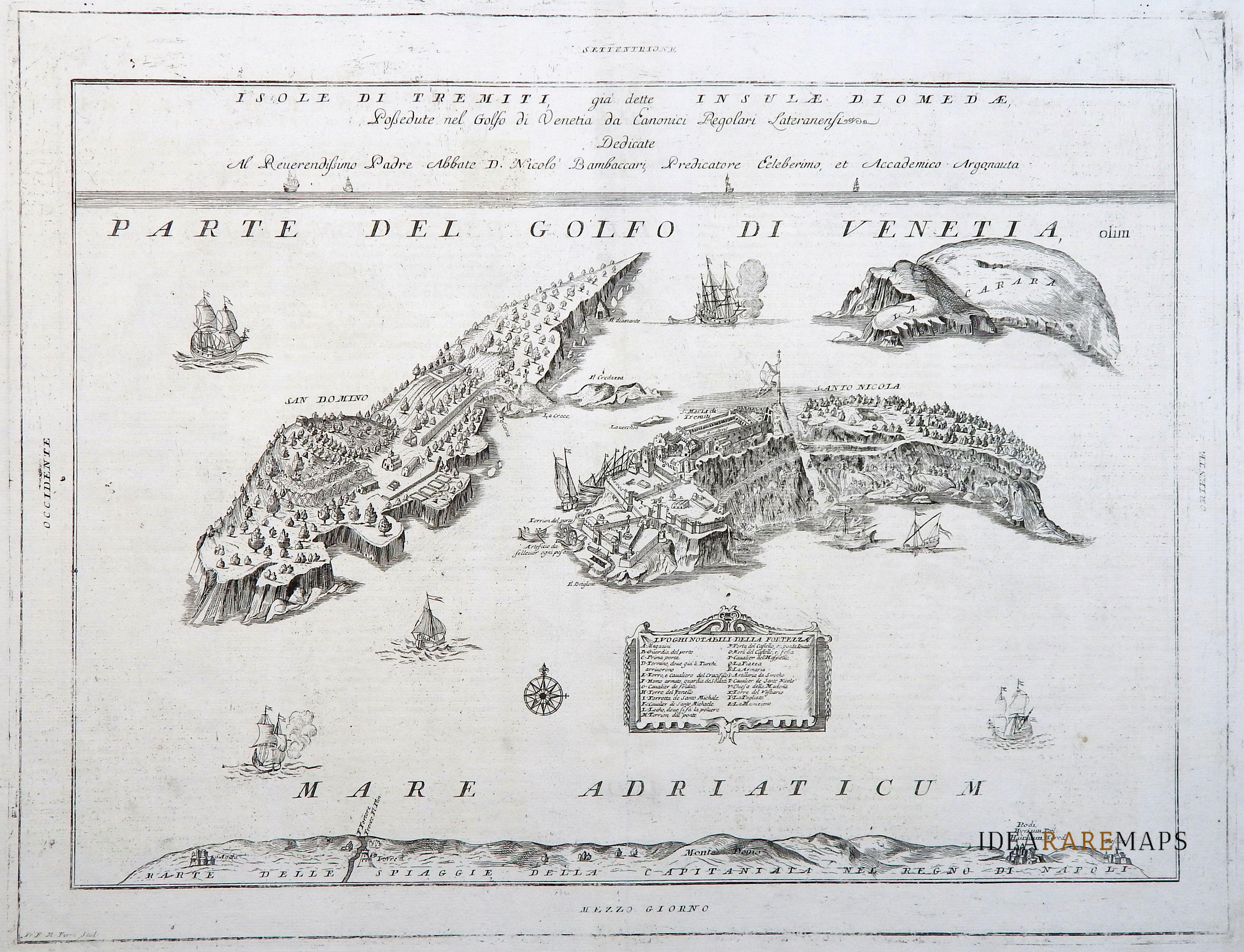 Cartina Geografica Delle Isole Tremiti.Puglia Gargano Antica Mappa Delle Isole Tremiti