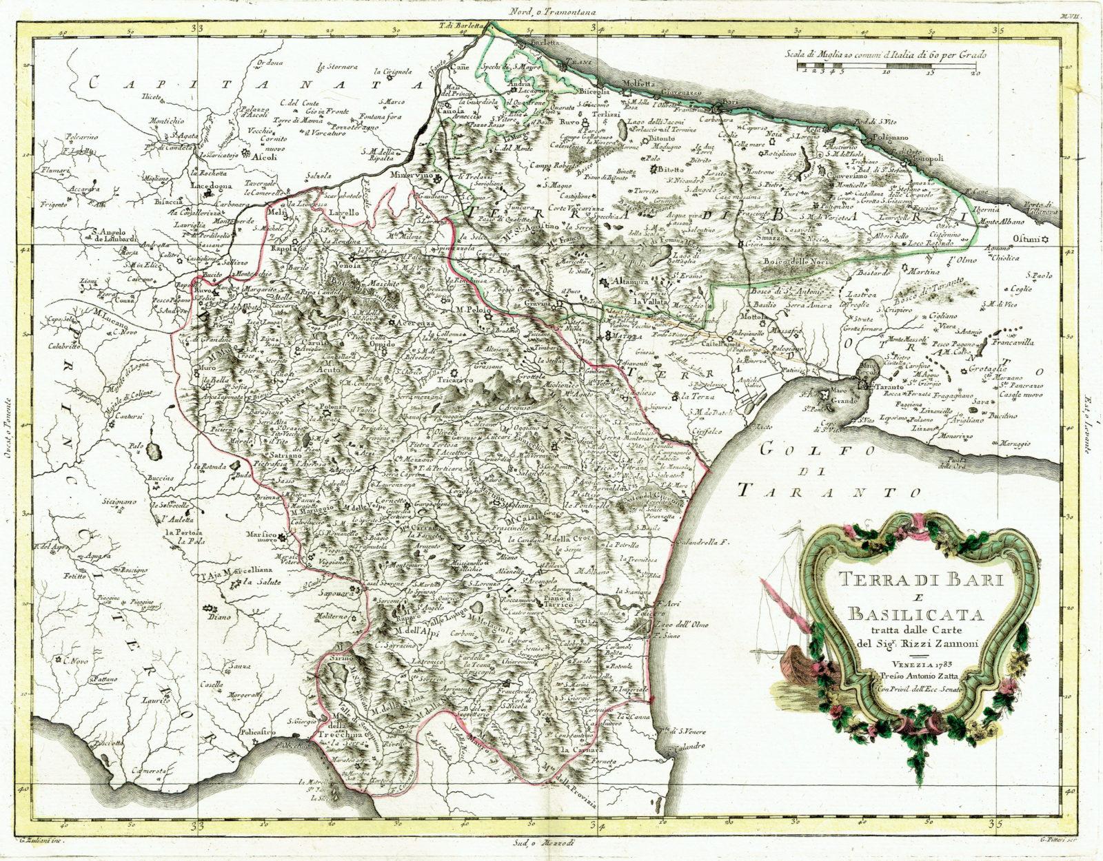 Cartina Calabria E Basilicata.Antica Mappa Della Puglia E Basilicata Idea Rare Maps