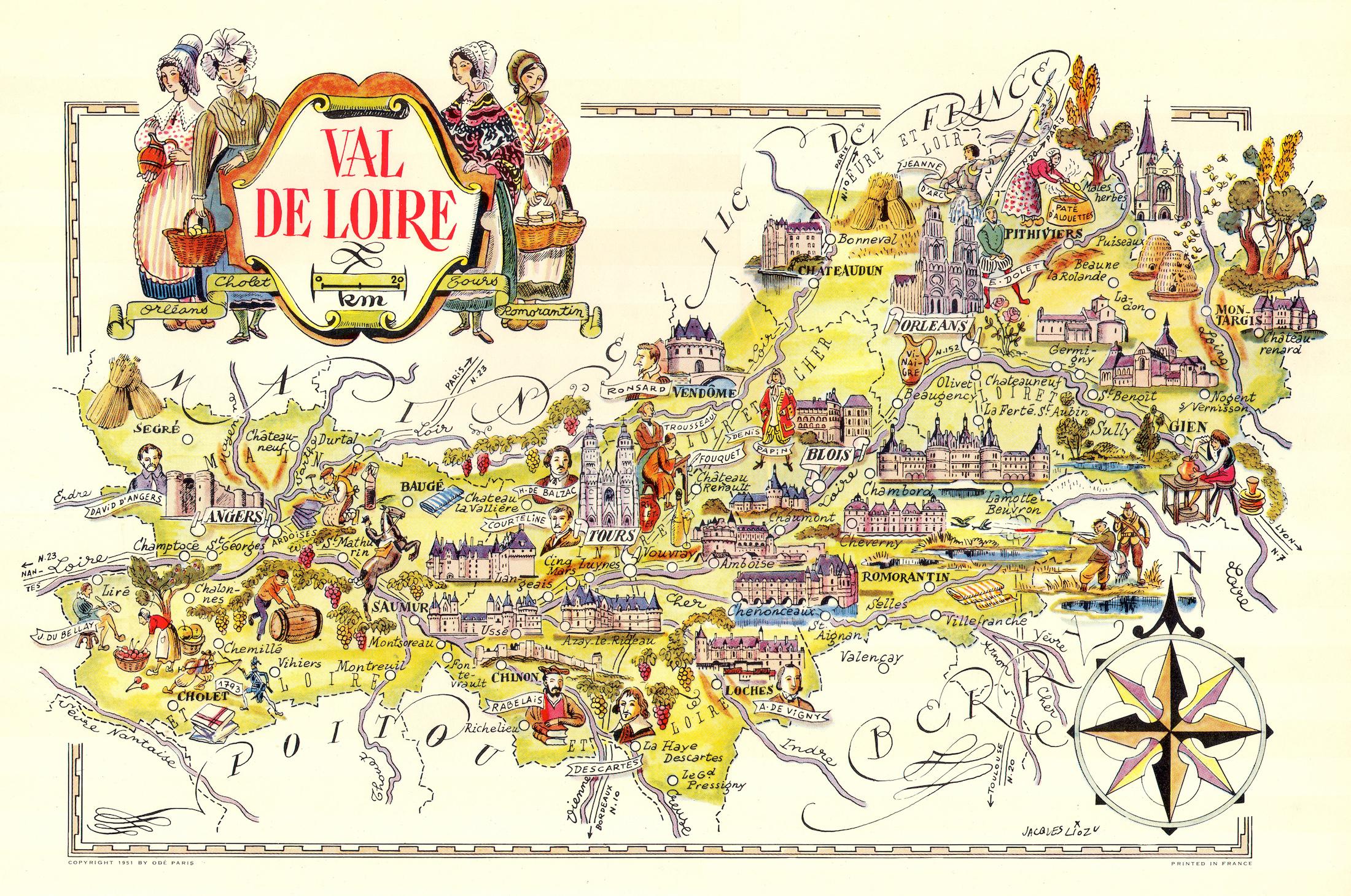 Cartina Geografica Della Loira Francia.Val De Loire Idea Rare Maps