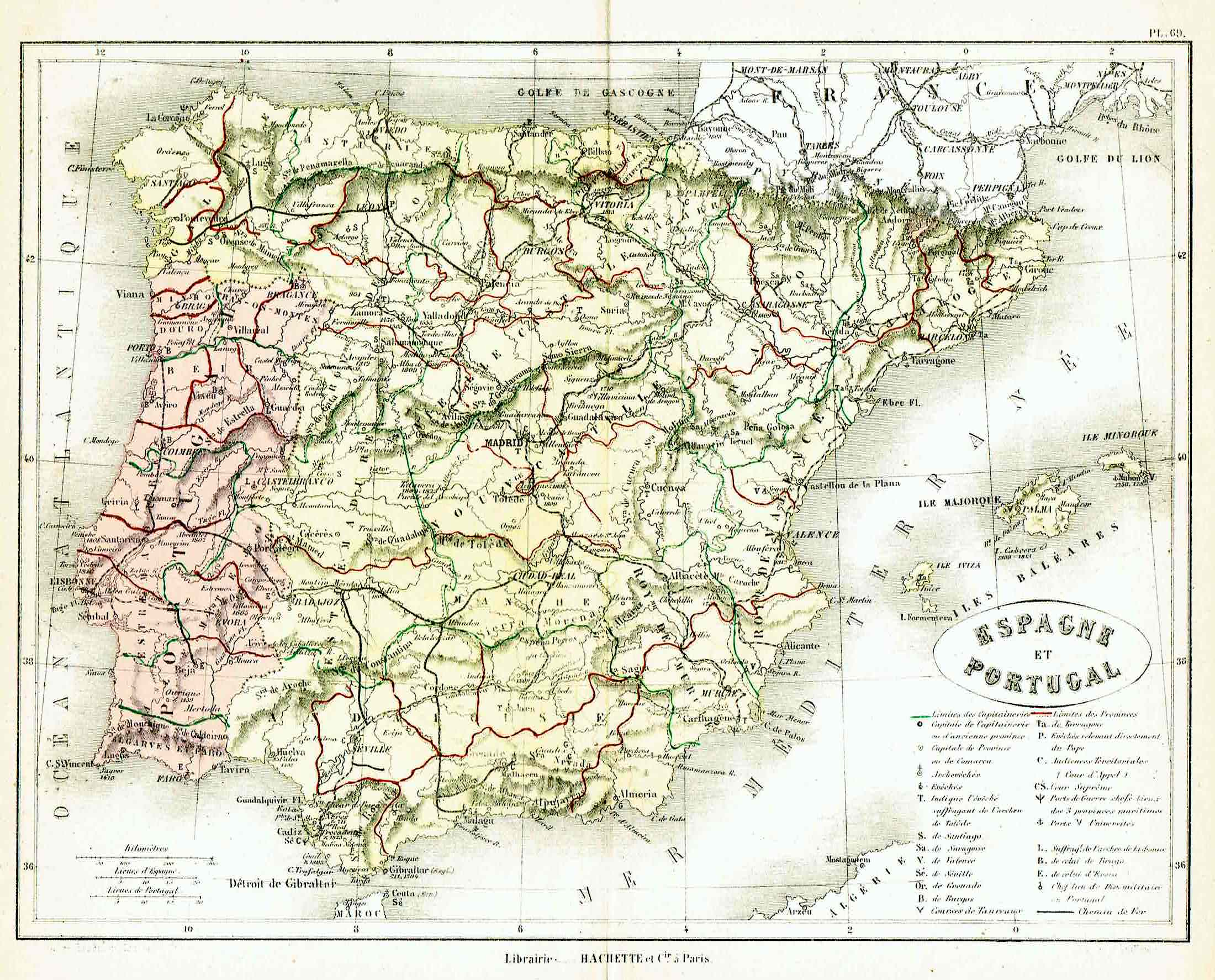 Spain And Portugal Product Categories Idea Rare Maps - Portugal historical map