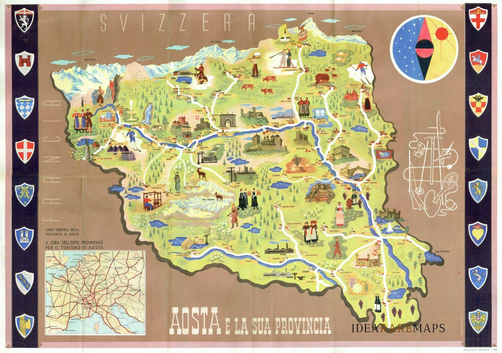 Cartina Geografica Della Valle D Aosta Da Stampare.Aosta E La Sua Provincia Idea Rare Maps
