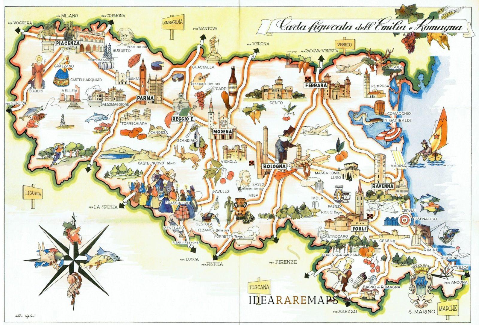 Cartina Geografica Italia Parma.Carta Figurata Dell Emilia Romagna Idea Rare Maps