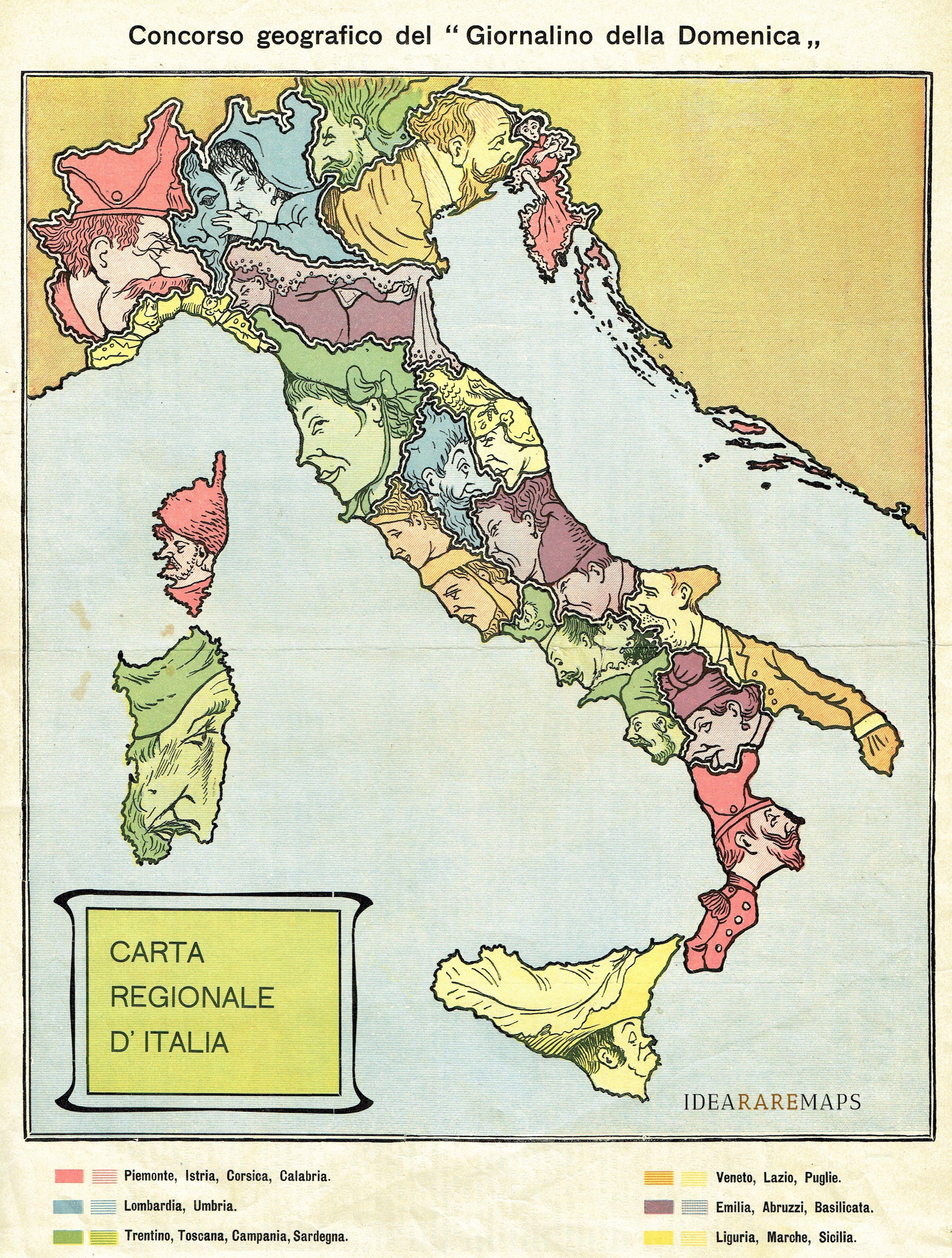 Cartina Geografica Italia 2017.Carta Regionale D Italia Idea Rare Maps