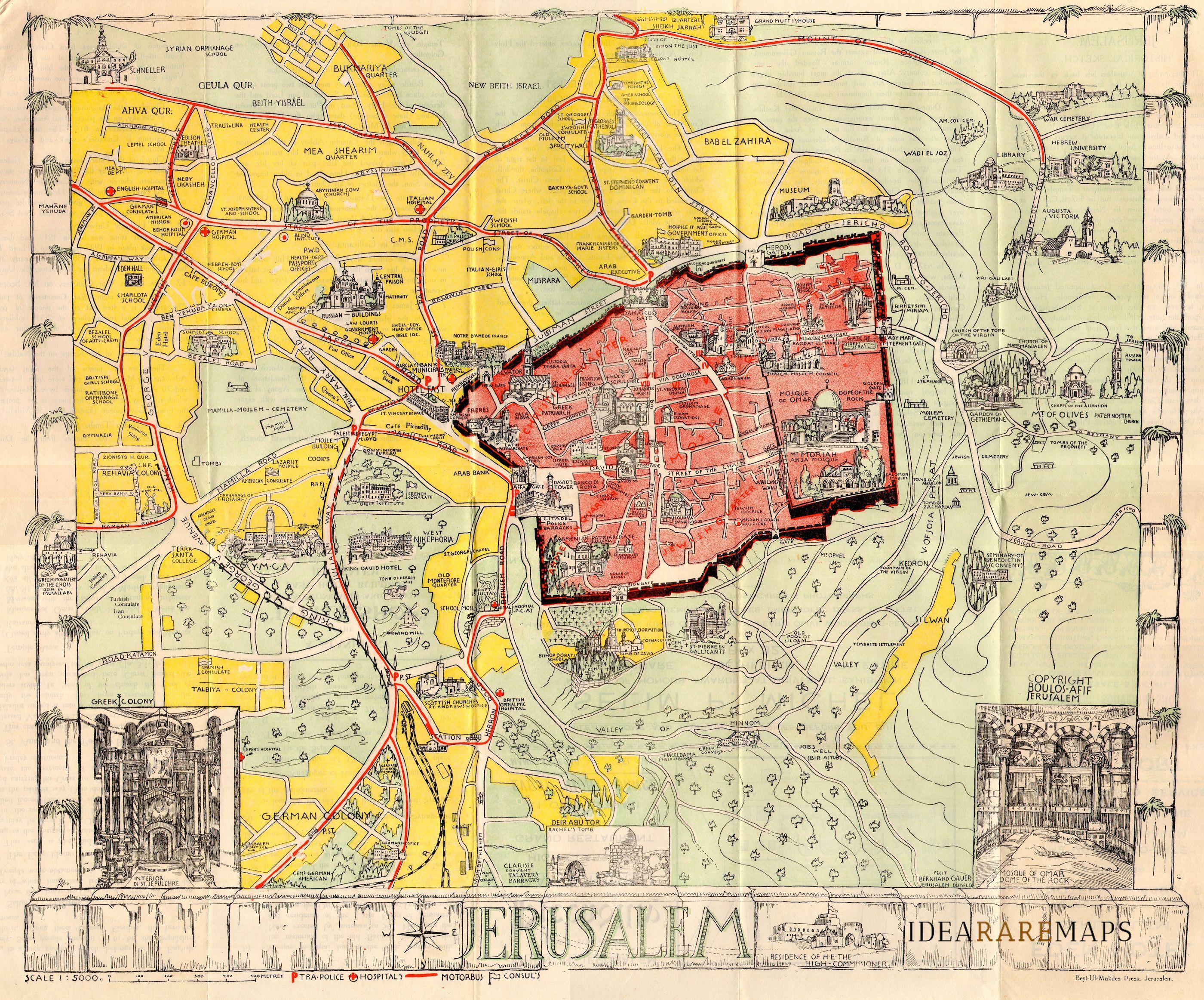 Guide map of Jerusalem - Idea Rare Maps