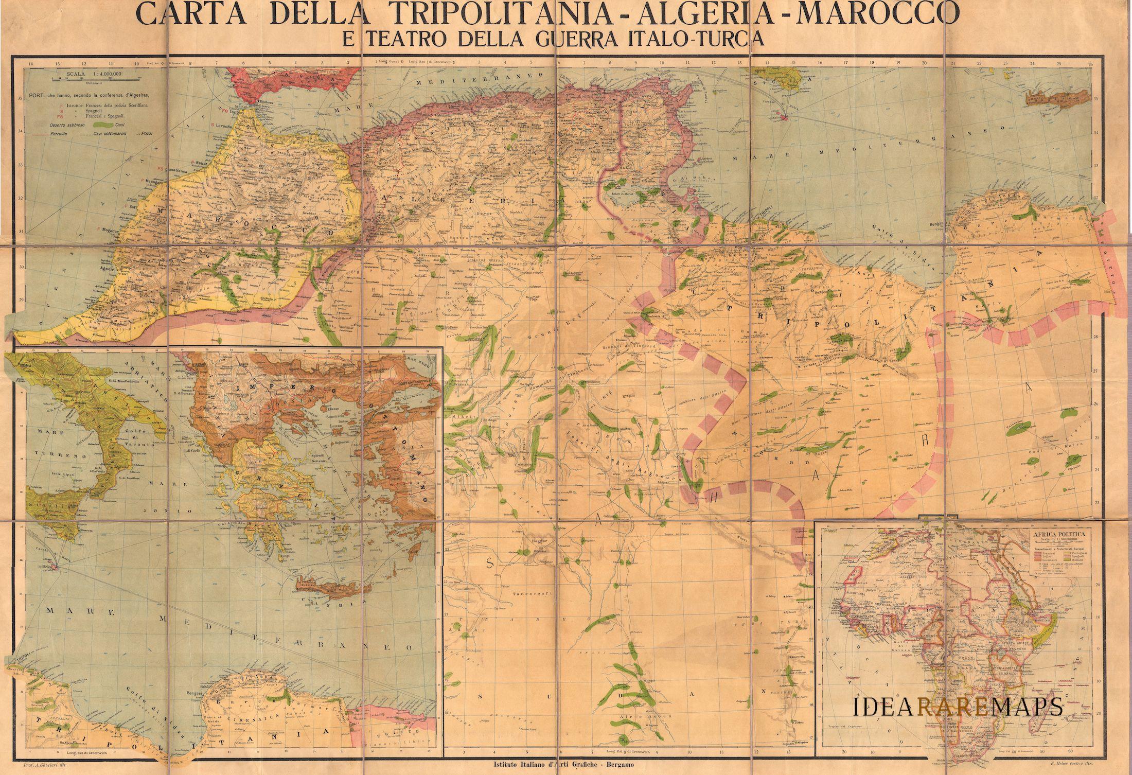 Cartina Politica Del Marocco.Carta Della Tripolitania Algeria Marocco E Teatro Della Guerra Italo Turca Idea Rare Maps