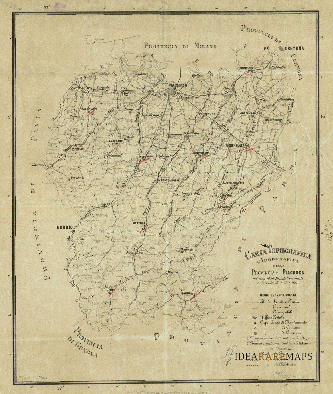 Cartina Militare Piemonte.Carta Topografica Ed Idrografica Della Provincia Di Piacenza Idea Rare Maps