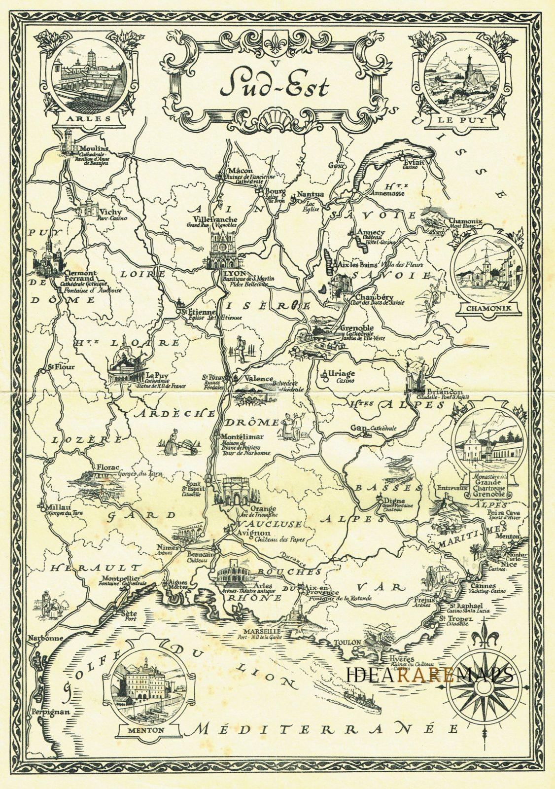 Francia Costa Azzurra Cartina Geografica.Sud Est Francia Costa Azzurra Idea Rare Maps