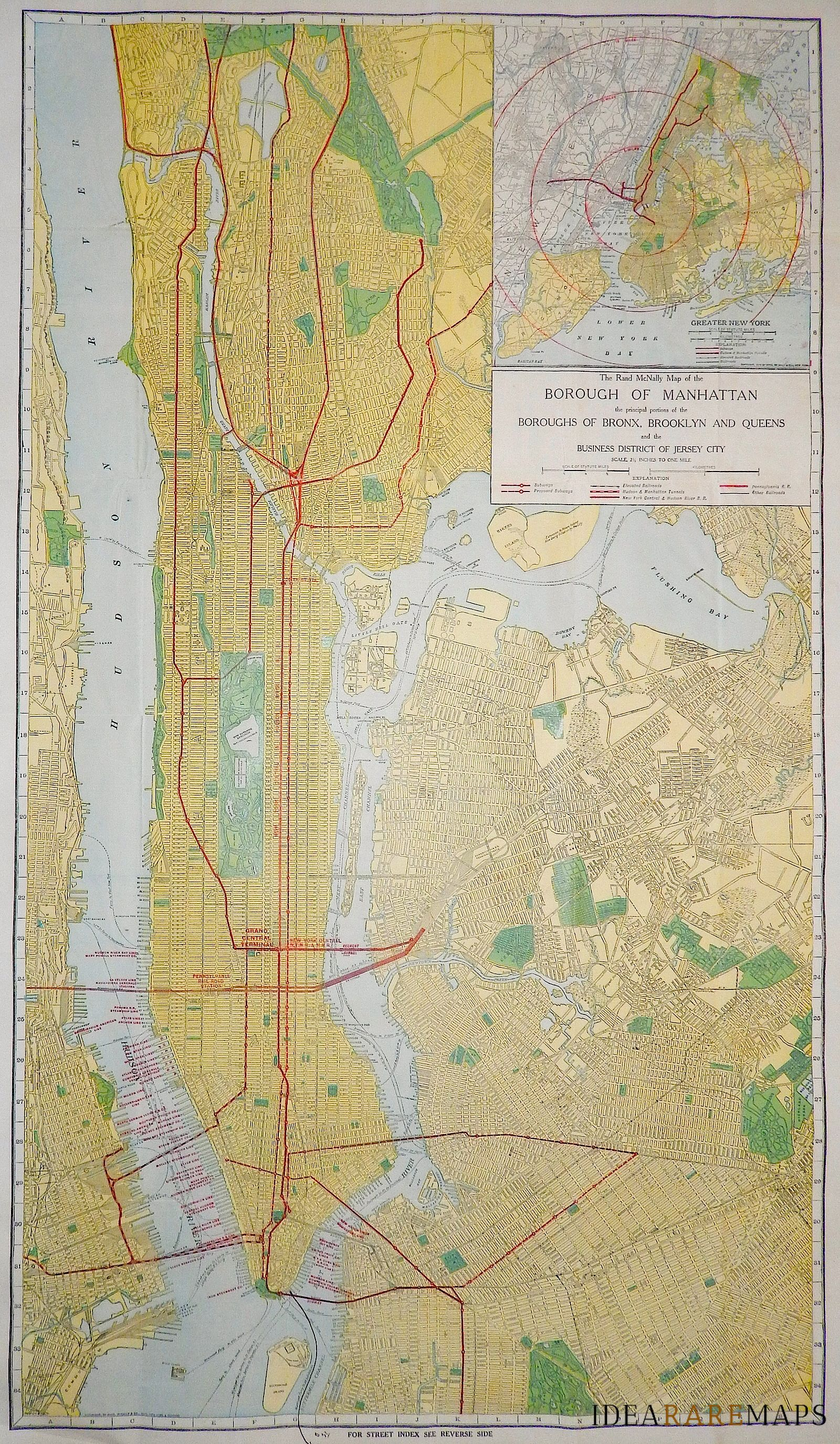 Map Of New York Showing Queens.The Rand Mcnally Map Of The Borough Of Manhattan The Principal
