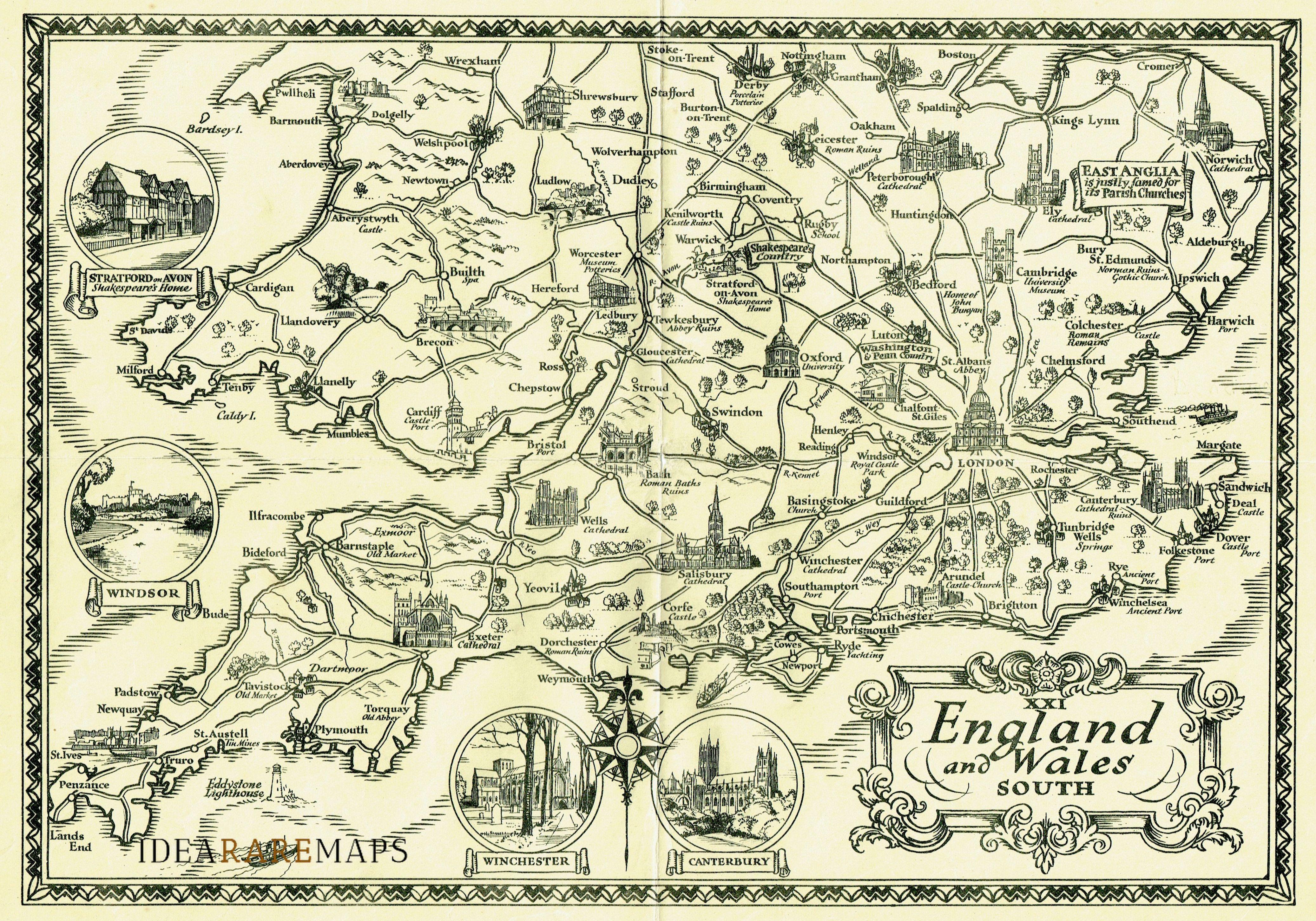 Cartina Geografica Dettagliata Scozia.England And Wales South Idea Rare Maps