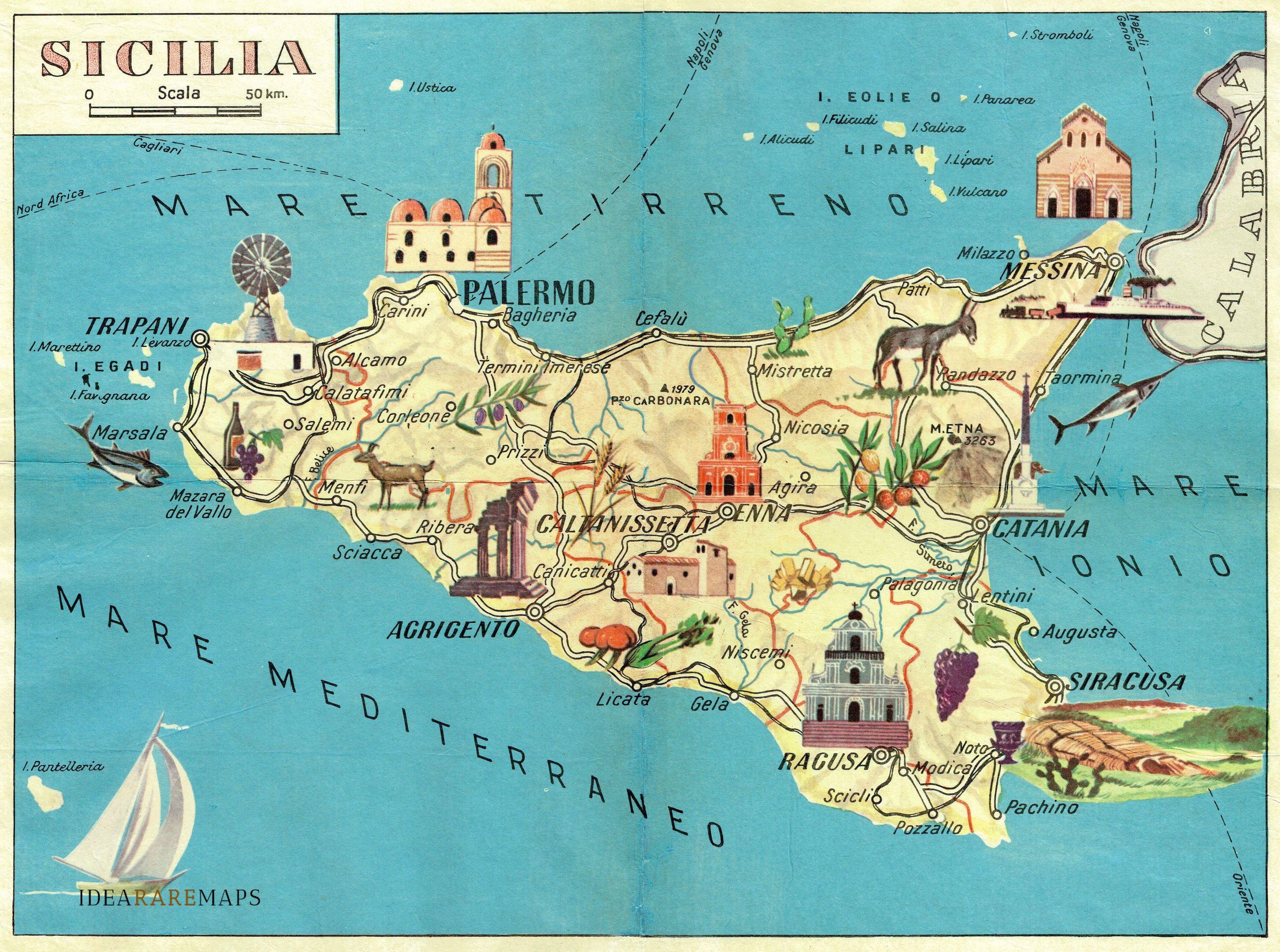 Immagini Cartina Della Sicilia.Carta Geografica Pittoresca Della Sicilia Idea Rare Maps