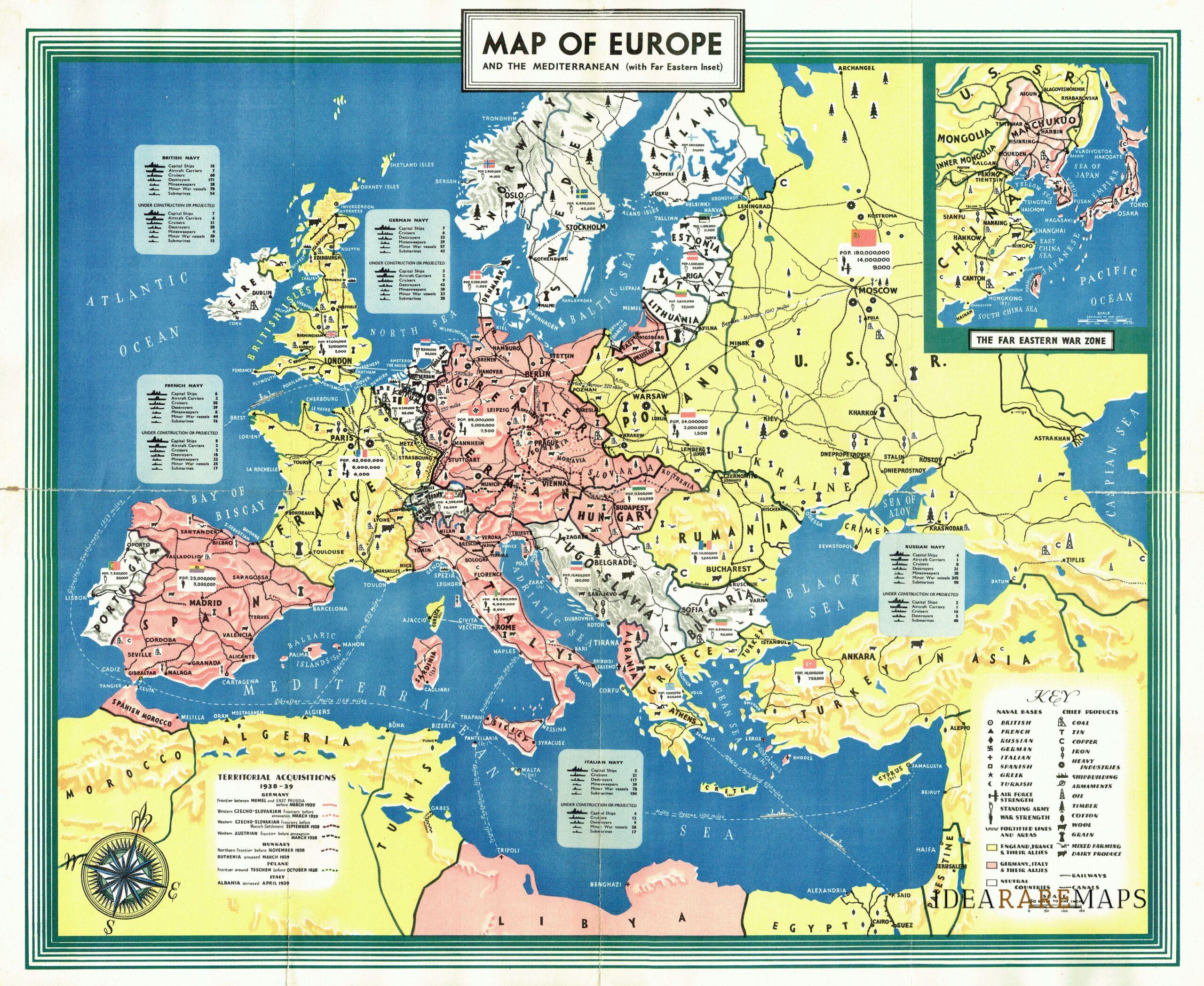 Cartina Geografica Europa Da Stampare.Carta Dell Europa Durante La Seconda Guerra Mondiale Idea Rare Maps