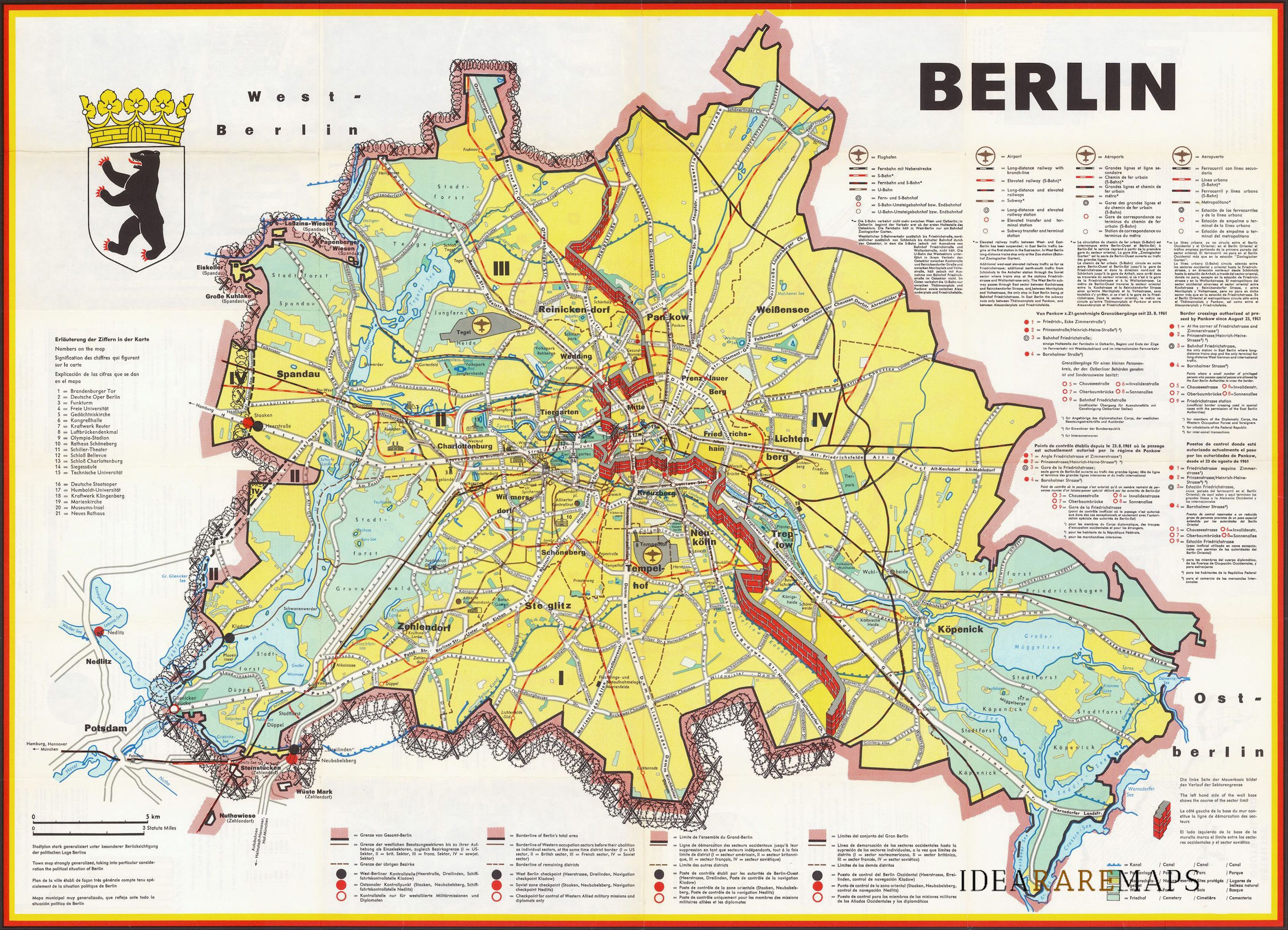 The Berlin wall in a interesting map published in 1962