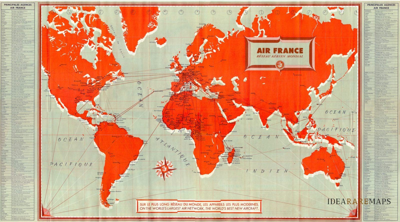 Map Of France 1600.World Map Air France Reseau Aerien Mondial Idea Rare Maps