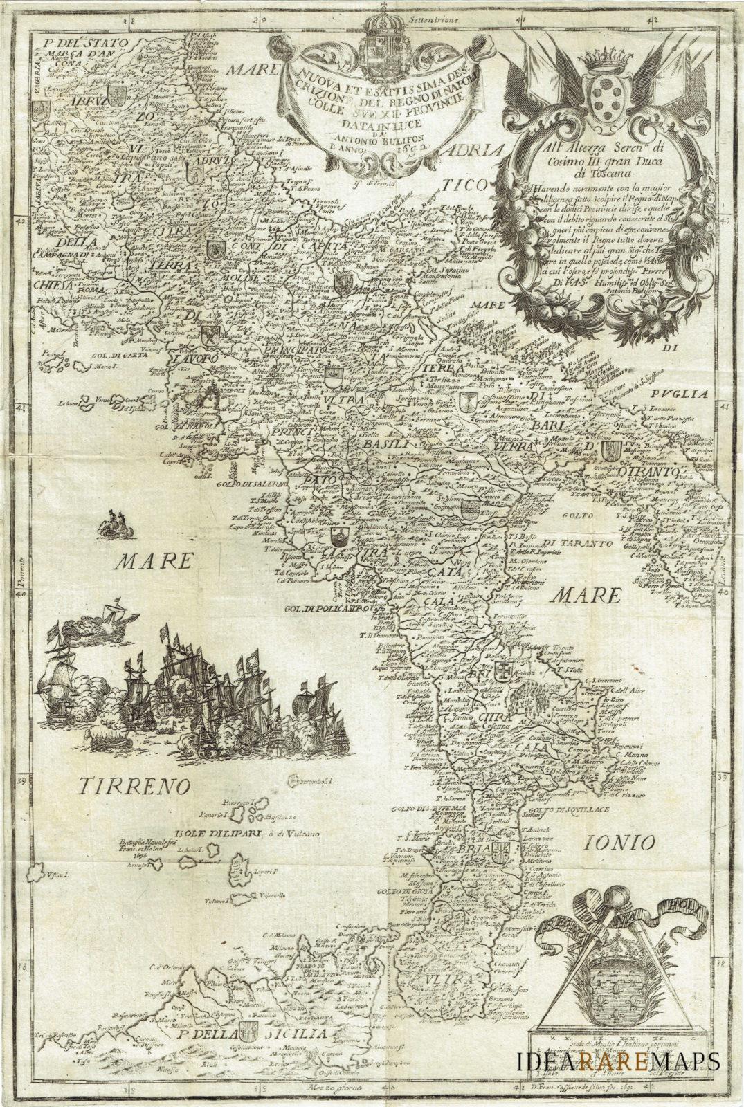 Cartina Geografica Italia Napoli.Antica Carta Geografica Del Regno Di Napoli A Bulifon Idea