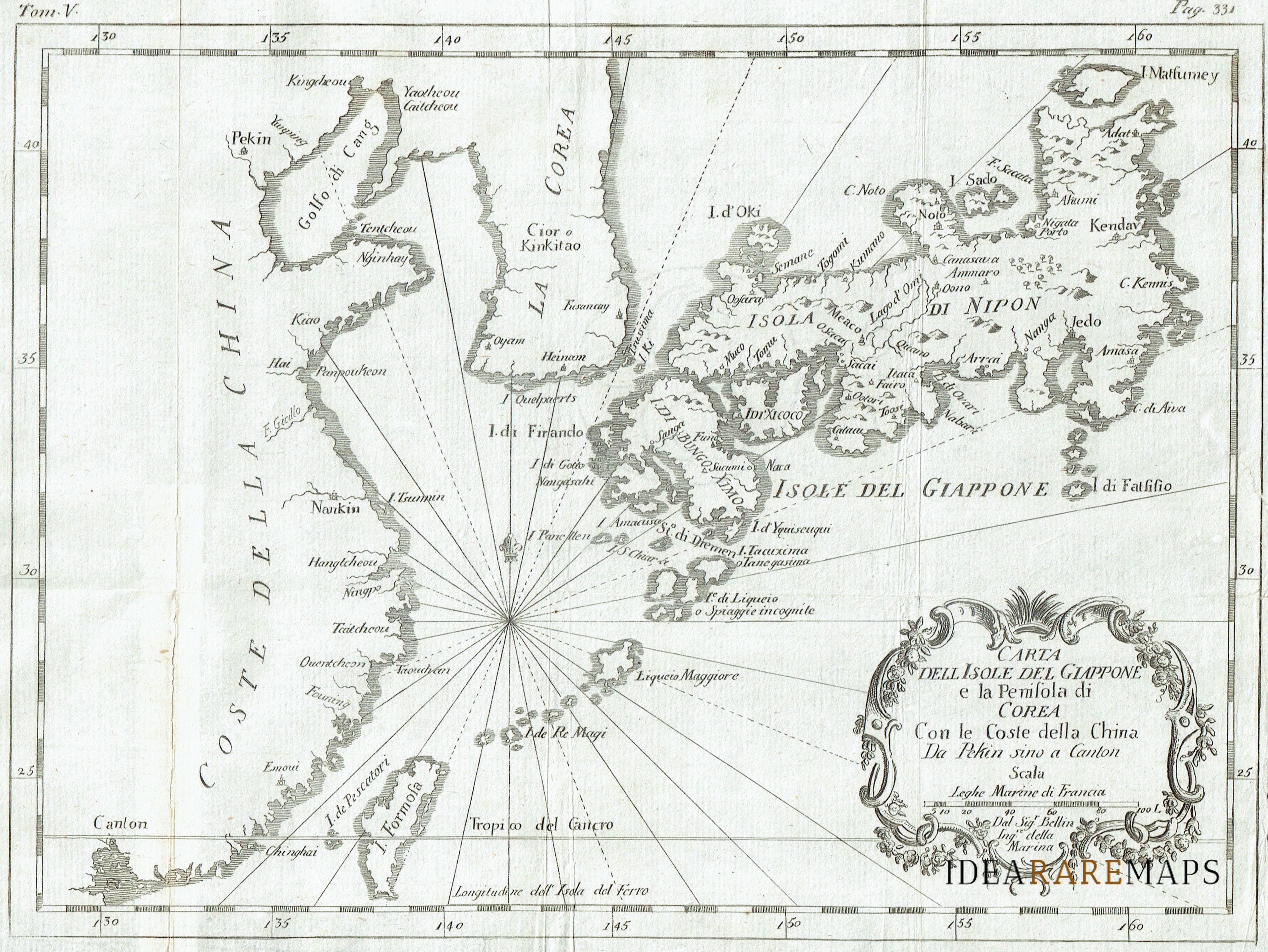 Cartina Dettagliata Giappone.Antica Carta Geografica Del Giappone Cina E Corea Idea Rare Maps