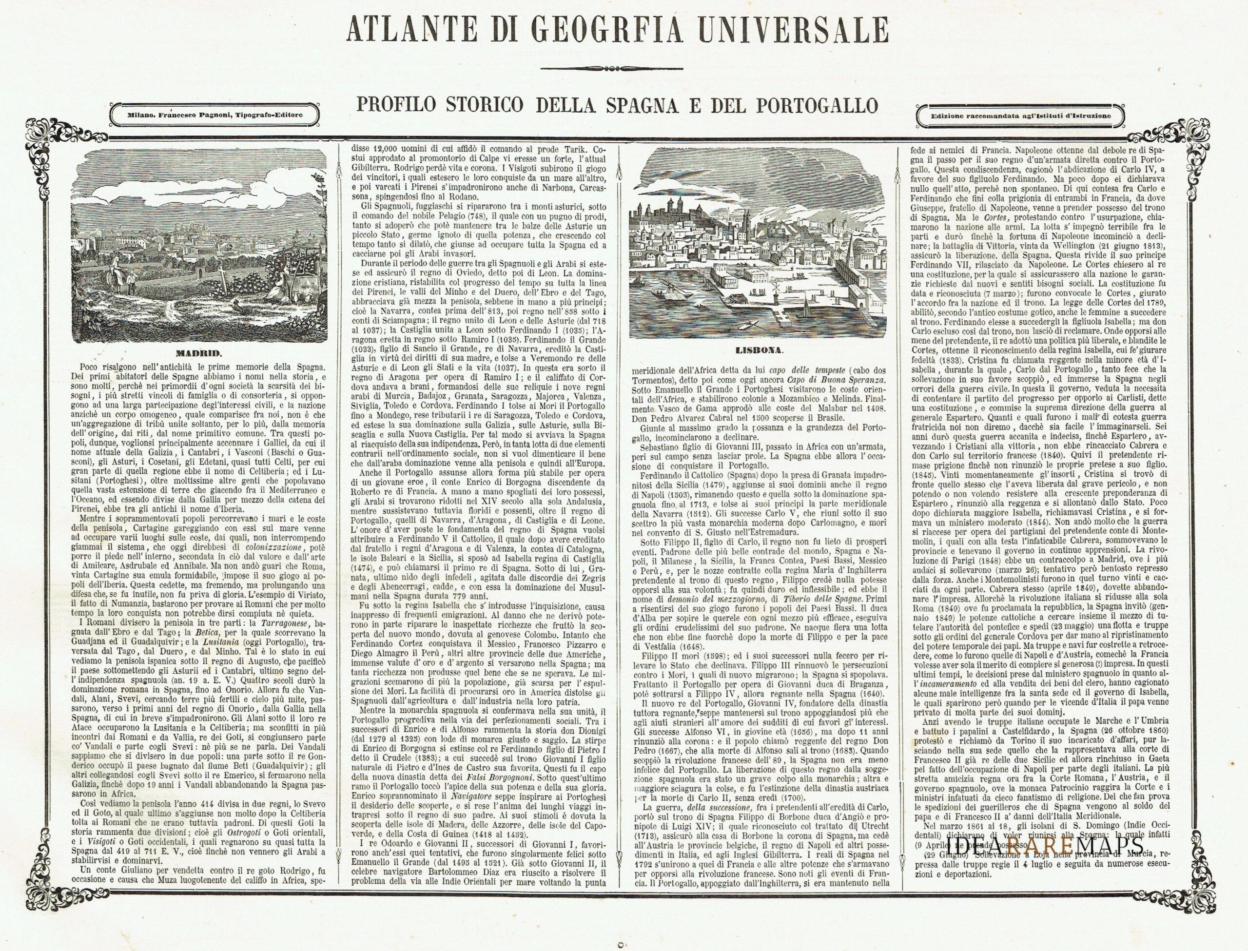 Cartina Geografica Spagna E Formentera.Antica Carta Geografica Spagna E Portogallo Naymiller Idea Rare Maps