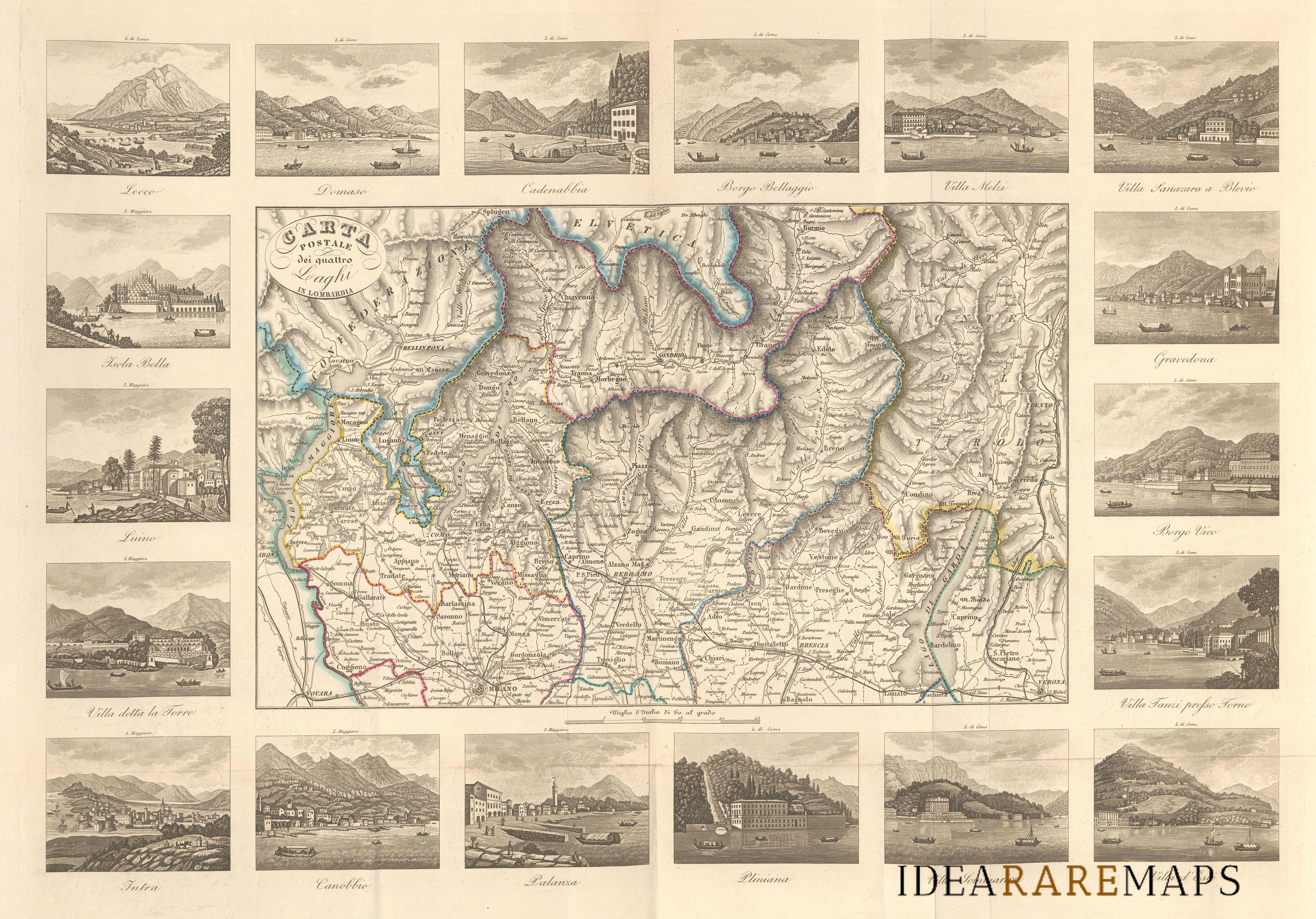 Cartina Lombardia Laghi.Antica Carta Dei Laghi Di Lombardia F Naymiller Idea Rare Maps