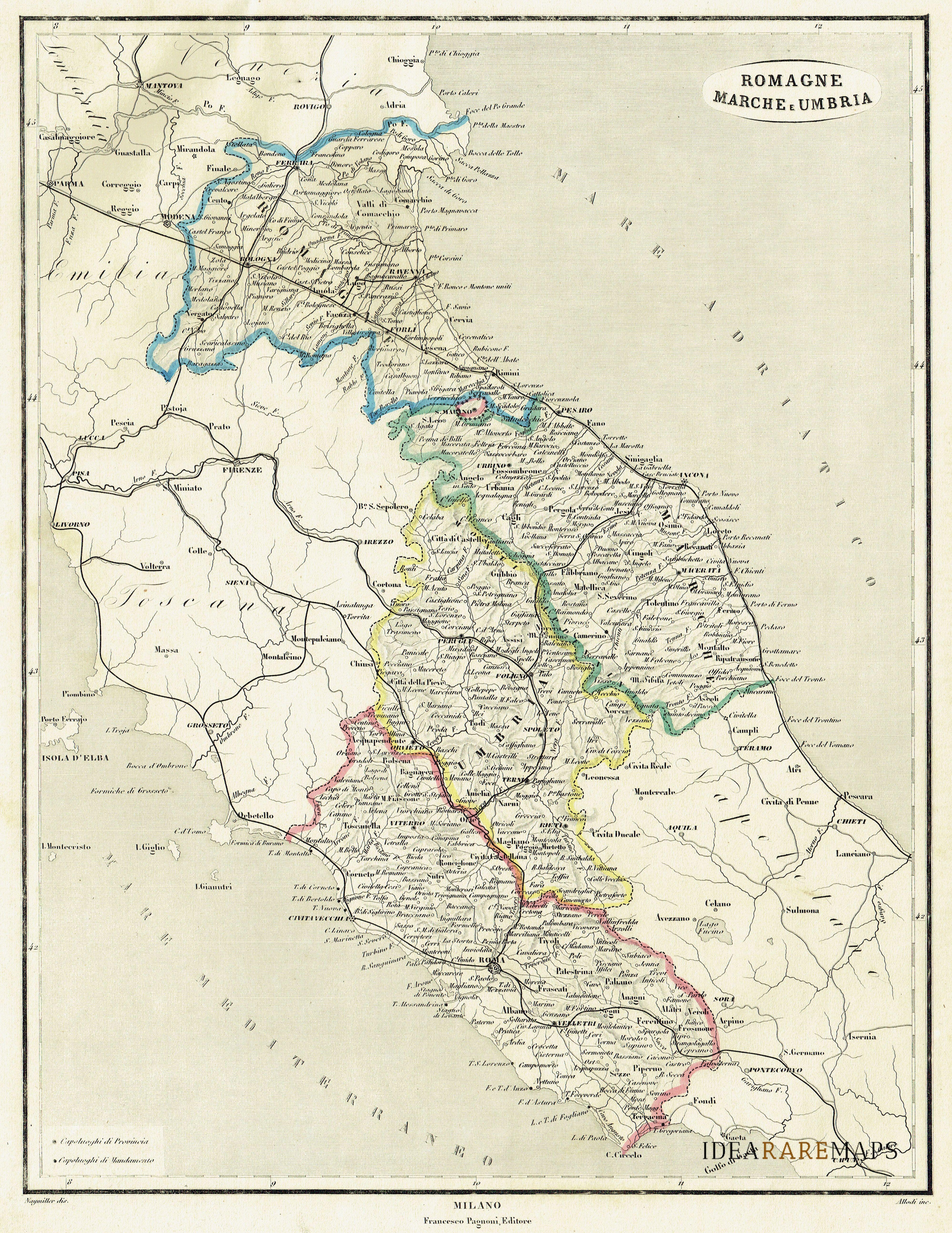 Cartina Geografica Umbria Marche.Antica Carta Dell Emilia Romagna Allodi F Naymiller Idea Rare Maps