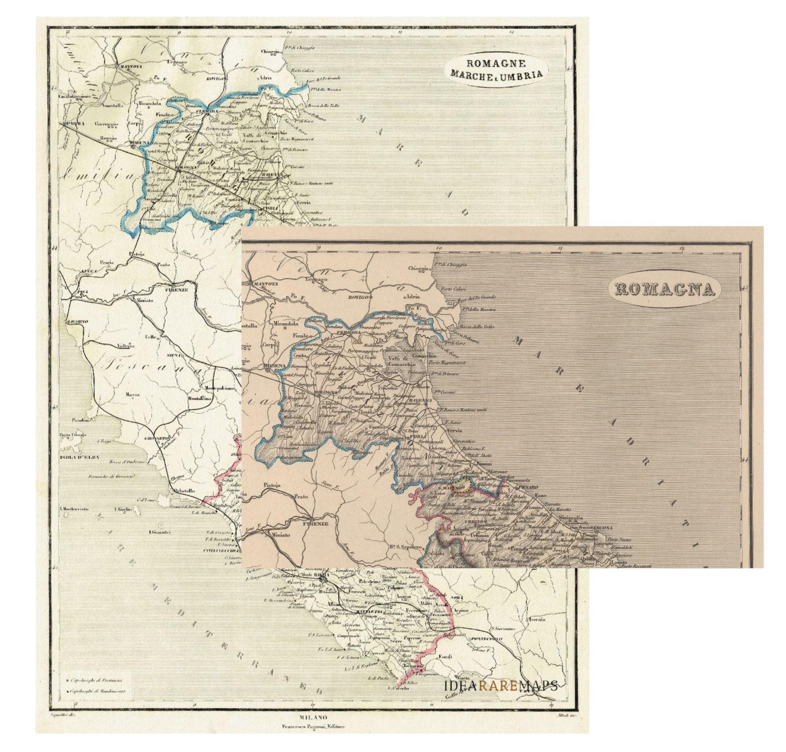antica carta dell'emilia romagna marche umbria lazio san marino