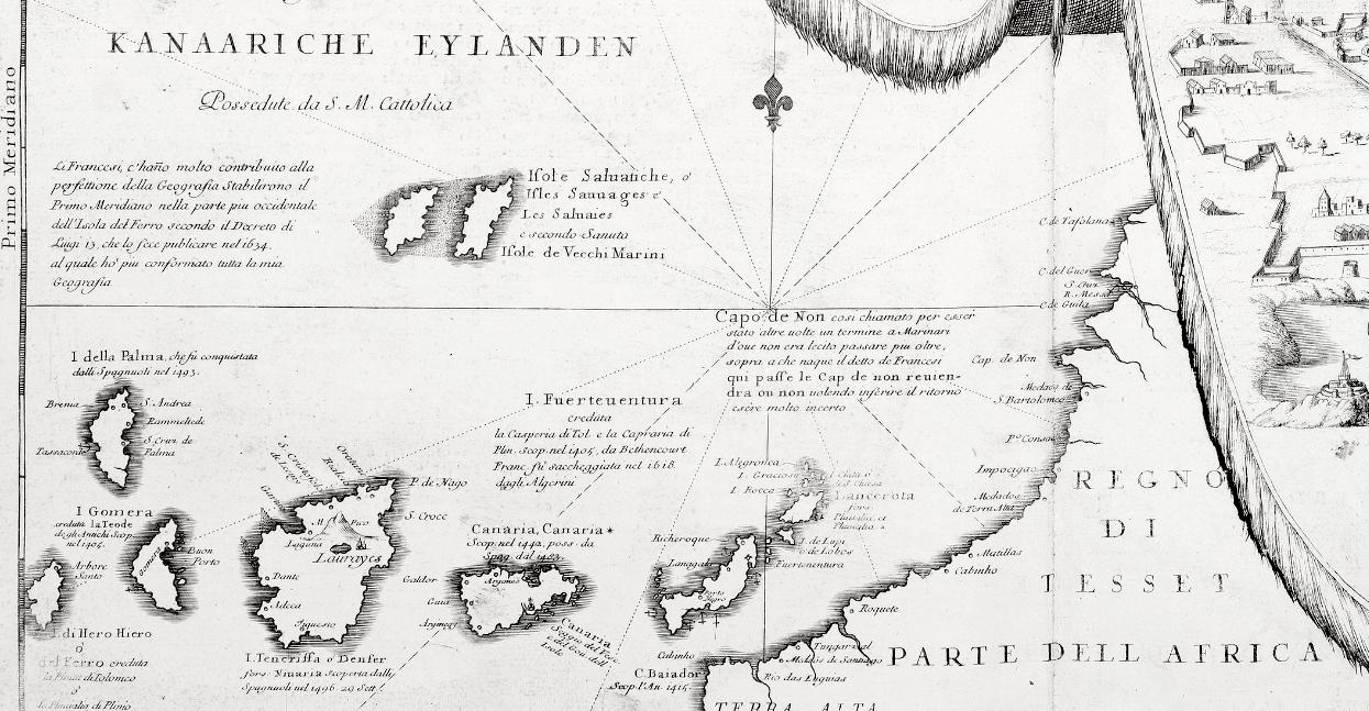 Cartina Geografica Canarie.La Carta Delle Isole Canarie Di Vincenzo Coronelli E La Dedica Ad Alvise Da Mosto Idea Rare Maps