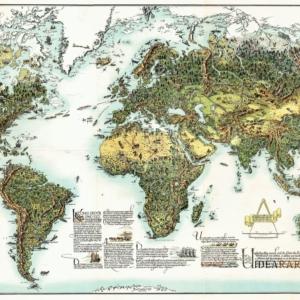 Diese Weltkarte zeigt die Arbeit des Menschen und die Schätze und Wirtschaftsgüter der Erde